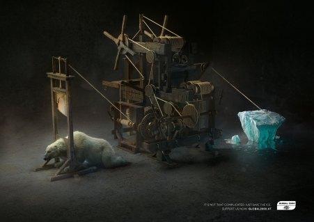 Gilotyna i krzesło elektryczne jako elementy szokującej kampanii ostrzegającej o skutkach globalnego ocieplenia - wlaczoszczedzanie.pl / @ Global2000