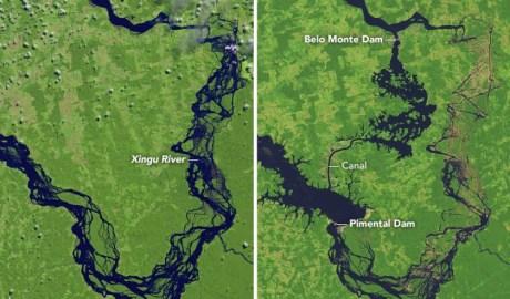 Koryto rzeki Xingu w północnej Bazylii w skutek działania człowieka zmieniło się nie do poznania - wlaczoszczedzanie.pl - @ NASA/Joshua Stevens