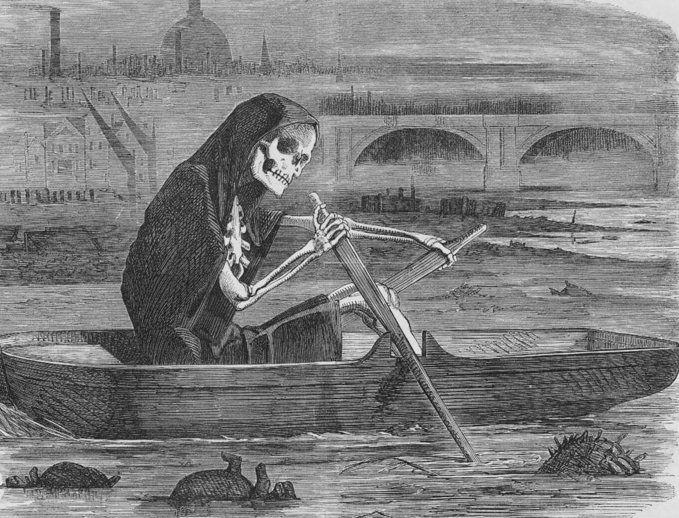 Rysunek przedstawiający śmierć podróżującą po Tamizie podczas klęski Wielkiego Smrodu/ @ Public domain