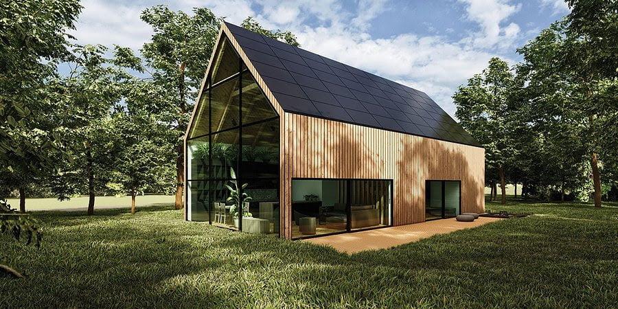 """Wooden Eco-House in the Forest. Projekt ekologicznego domu inspirowanego Skandynawią zwyciężył w konkursie """"Dom Przyszłości. Najlepszy projekt SunRoof 2020"""""""