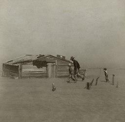 Rolnik i jego dwaj synowie podczas burzy piaskowej w hrabstwie Cimarron w stanie Oklahoma