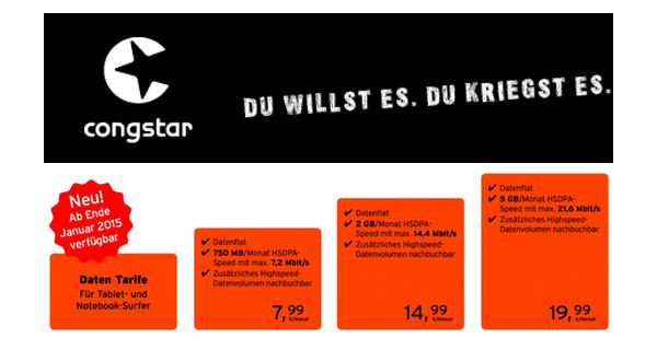 günstige Datentarife von congstar im Telekom-Netz