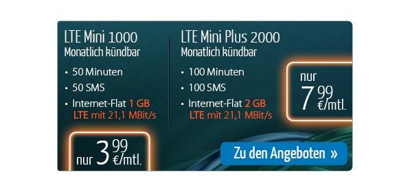 günstiger Smartphonetarif LTE 1GB Freiminuten SMS
