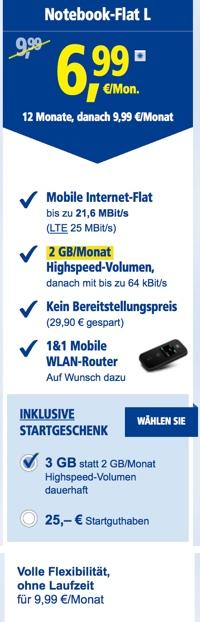 günstige Datenflat mit 2GB Datenvolumen