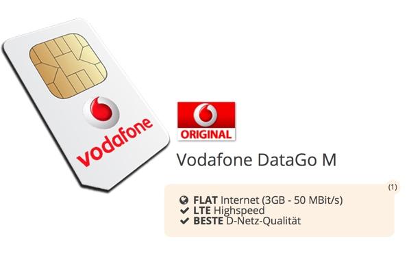 günstiger Vodafone datentarif DataGo M 3GB unter 5 Euro im Monat