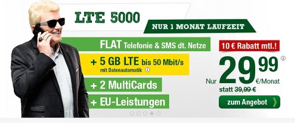 günstiger Allnet Flat Tarif mit 5GB LTE Datenvolumen