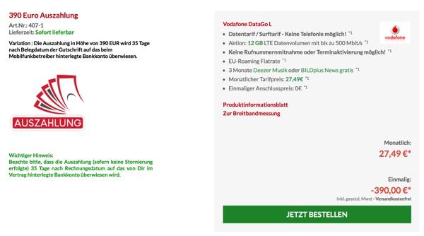 günstiger Datentarif Vodafone