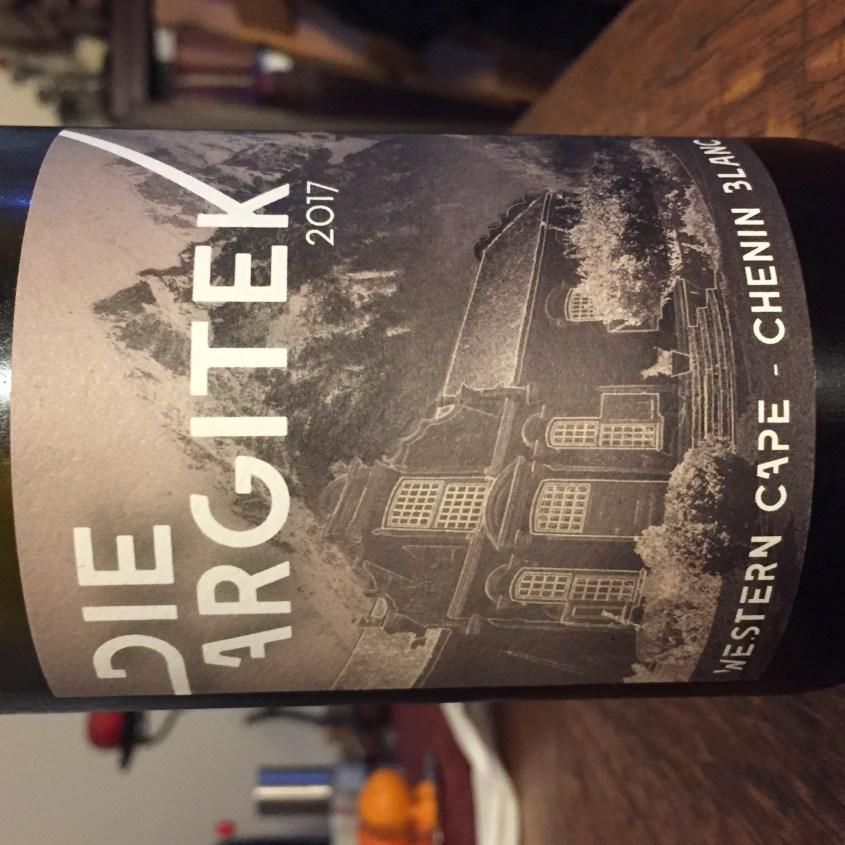 Label from bottle of Die Argitek Western Cape Chenin Blanc 2017