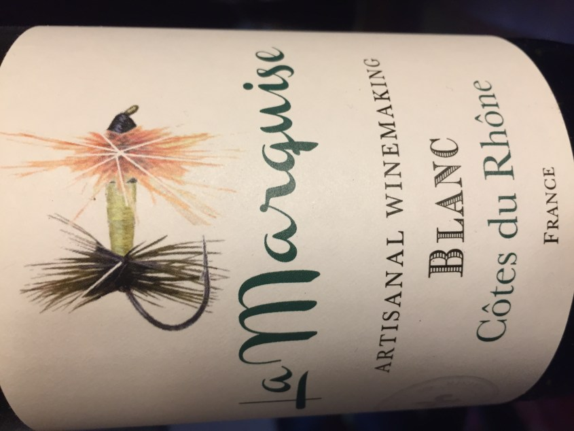 Label from bottle of La Marquise Côtes du Rhône Blanc 2016