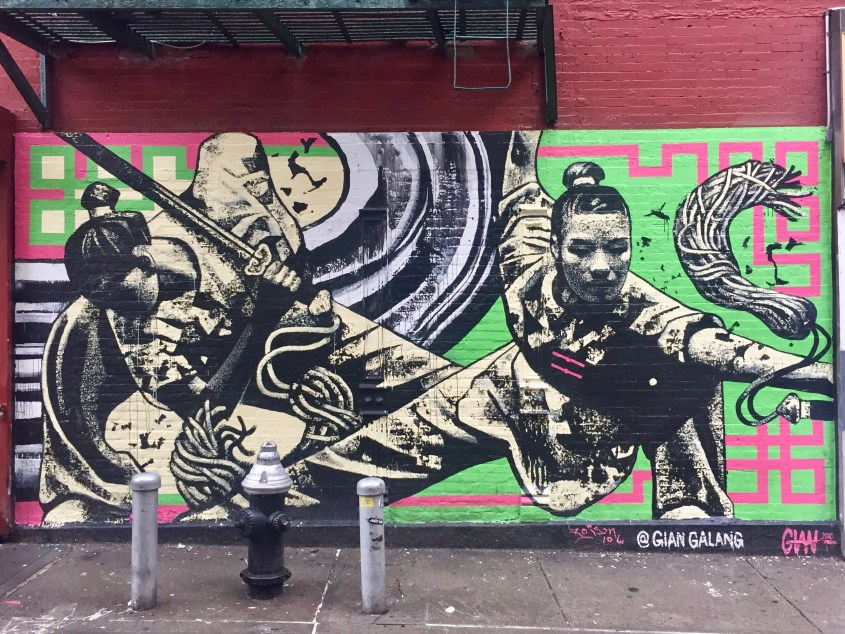 Wall mural on Doyers Street: Chinatown Warriors Dancing with Swords