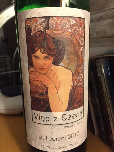 Label from bottle of Vino z Czech Morovia St. Laurent 2013 with Art Nuveau portrait