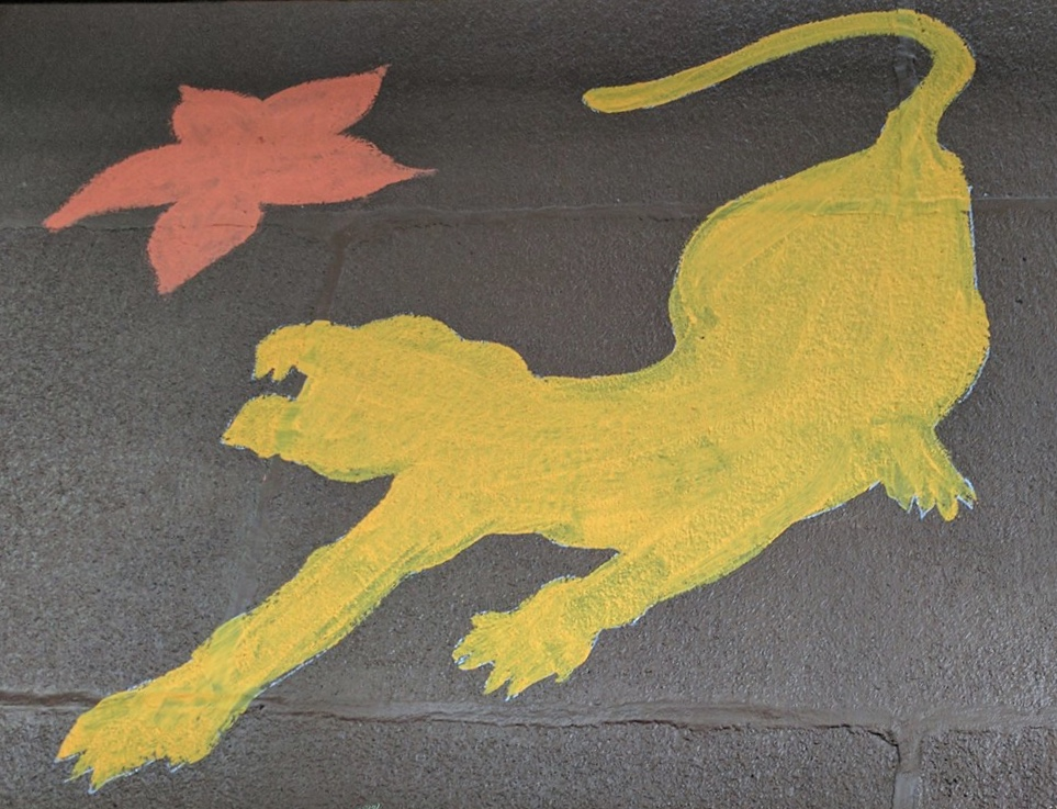Simple single color painting of a yellow Cougar, bearing teeth at a red, five petal flower, shaped like a star