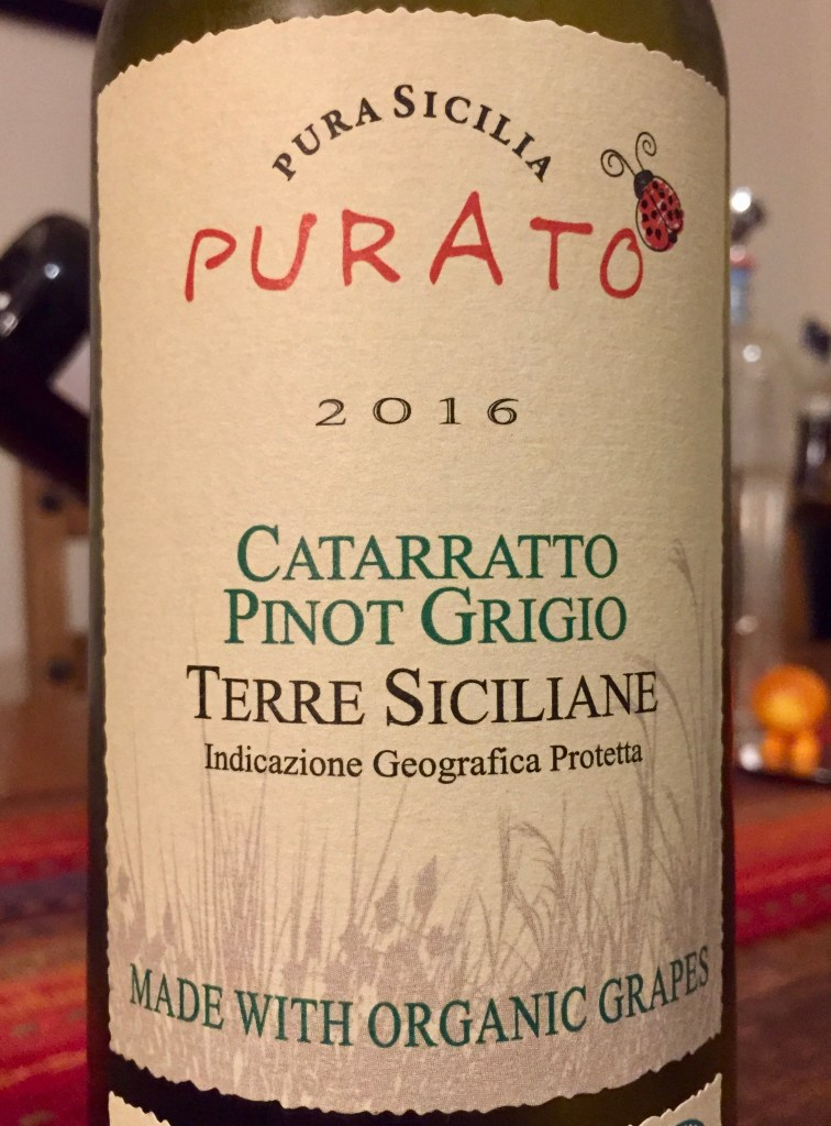 label from bottle of Purato Catarratto Pinot Grigio Terre Siciliane IGP 2016