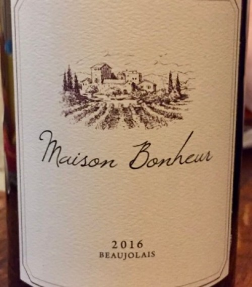 Label from bottle of Maison Bonheur Beaujolais-Village 2016