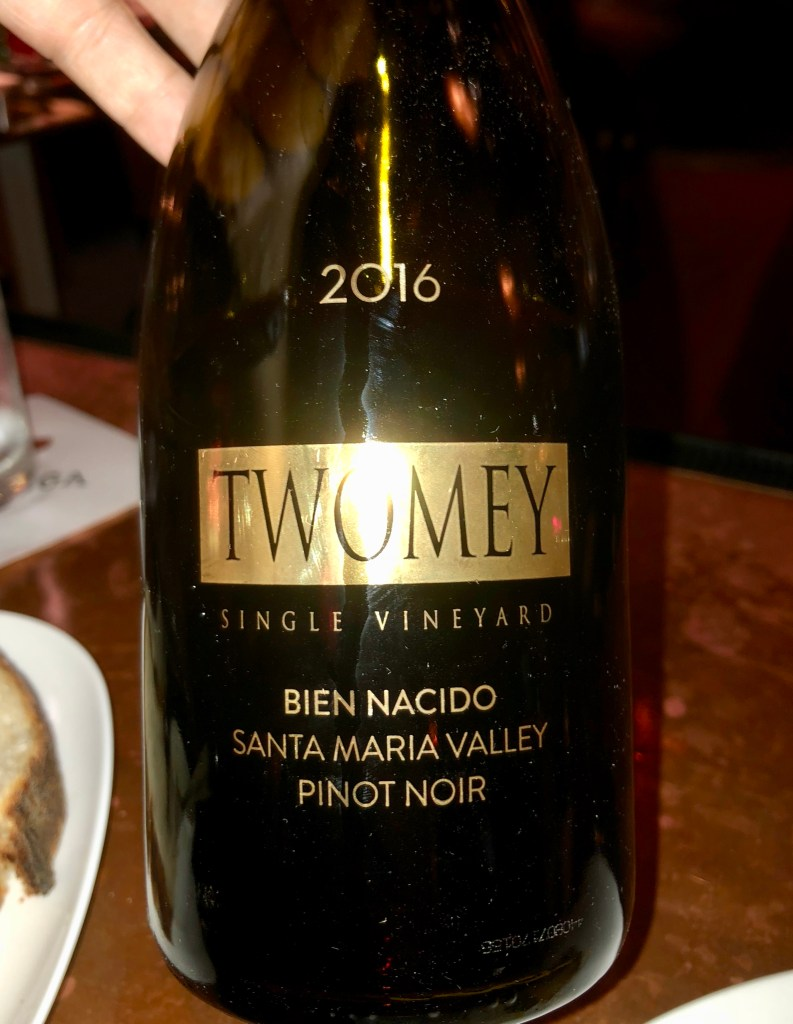 Label from bottle of Twomey Bien Nacido Santa Maria Valley Pinot Noir 2016