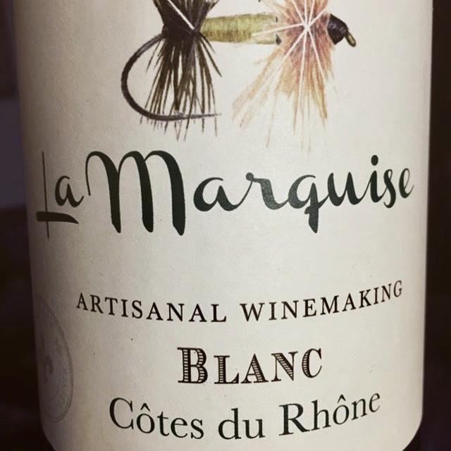 Label from bottle of La Marquise Côte du Rhône Blanc 2016