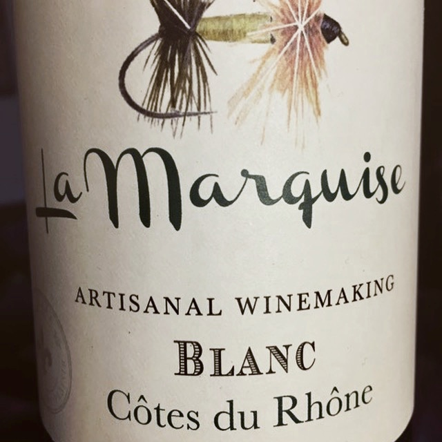 Label from bottle of La Marquise Côte du Rhône Blanc 2016