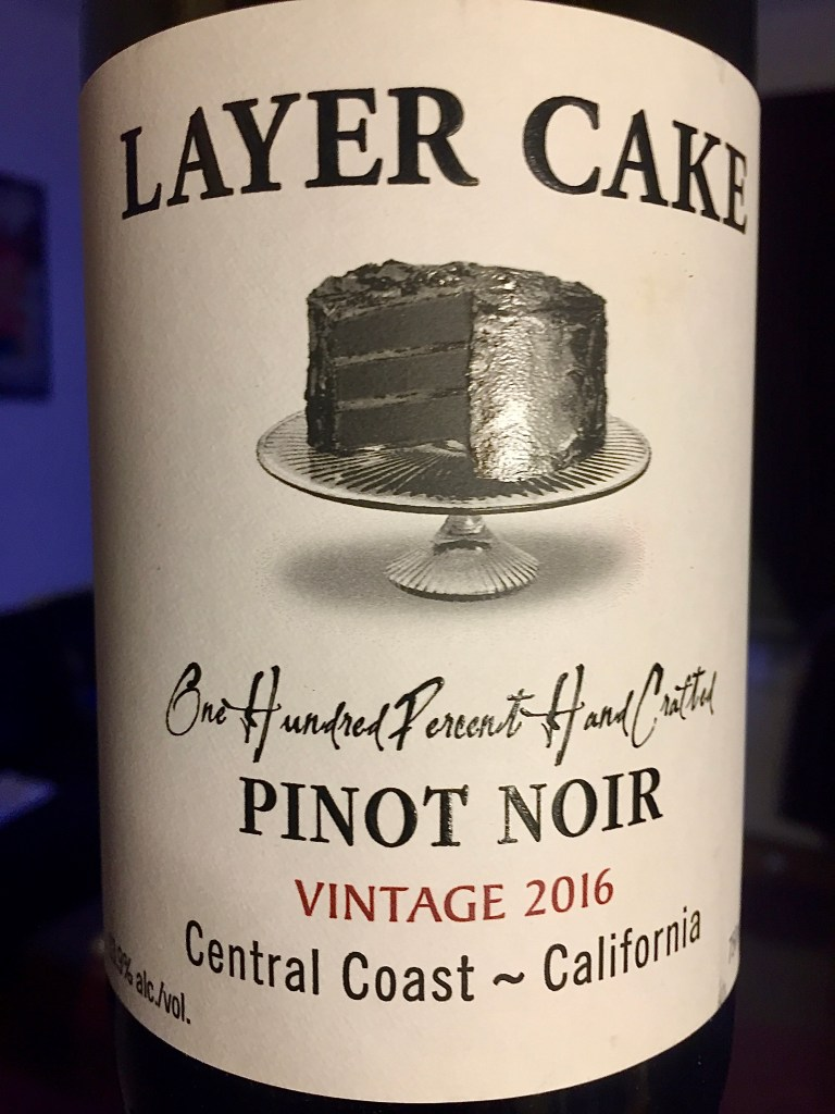 Label from bottle of Layer Cake Cantral Coast Pinot Noir 2016
