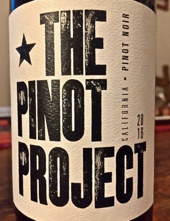 Label from bottle of The Pinot Project California Pinot Noir 2016