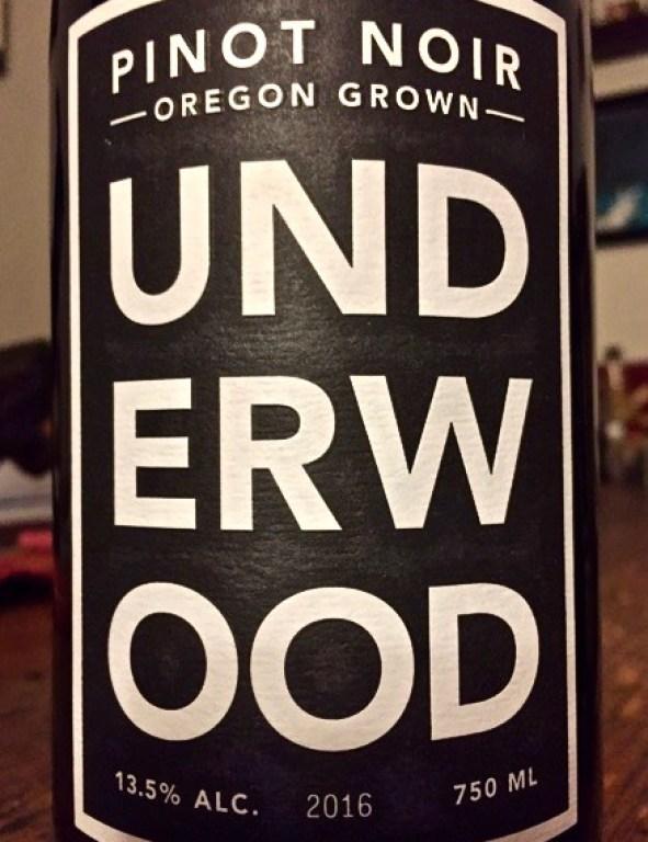 Label from bottle of Underwood Oregon Pinot Noir 2016