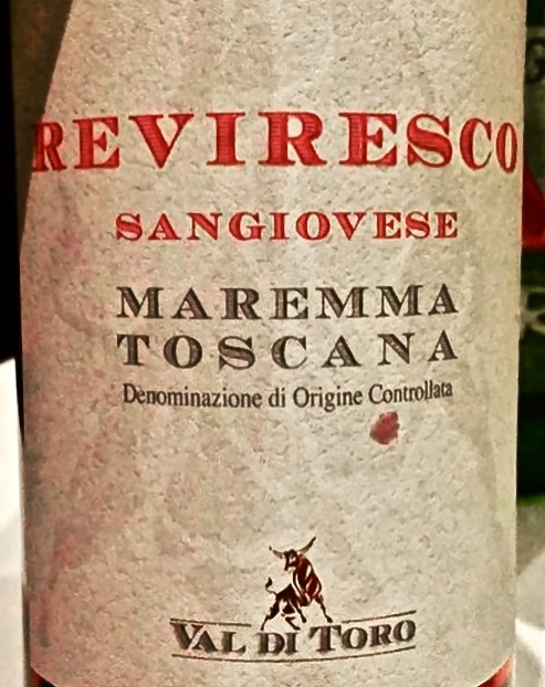 Label from bottle of Reviresco Maremma Toscana Sangiovese 20XX by Val di Toro