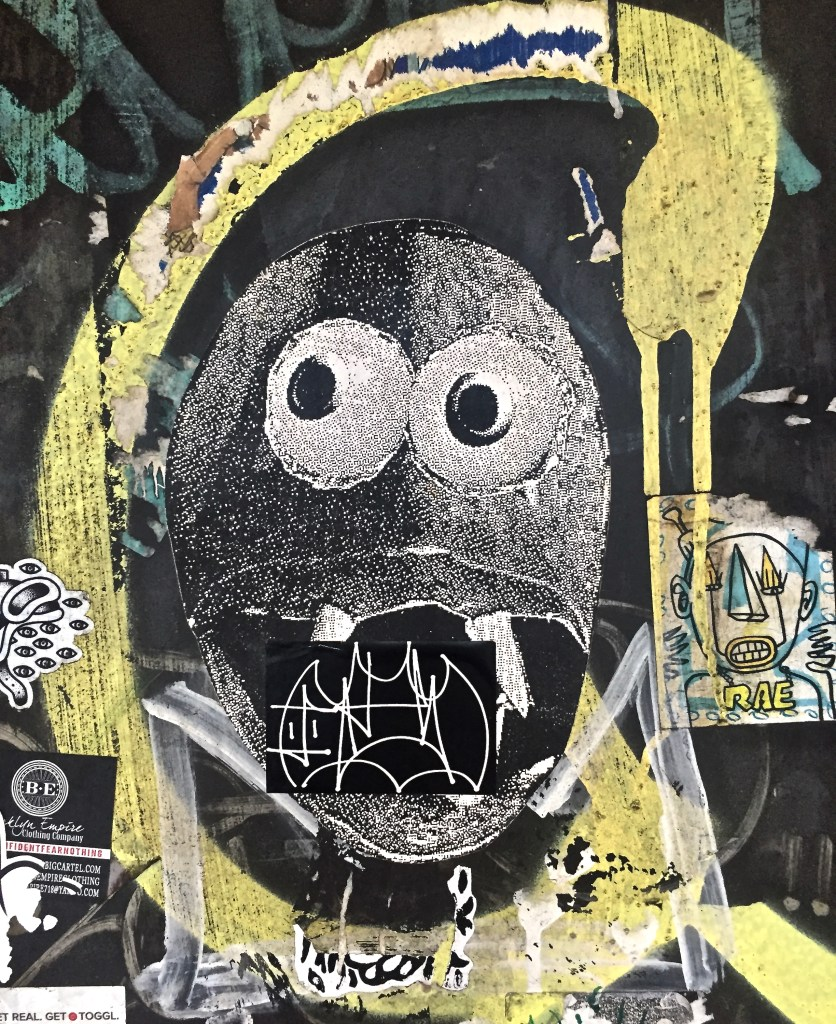 Sticker and pasted art composition of a Shocked beast with a bat in its mouth, and haughty RAE