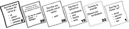 Spanish Verb Form and Vocabulary Task Cards wlteacher.wordpress.com