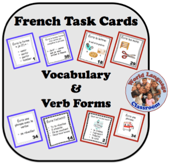 French Verb Form and Vocabulary Task Cards wlteacher.wordpress.com