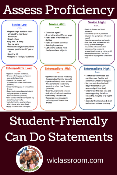 Assess Proficiency with Student-Friendly Ca Do Statements (French, Spanish) wlclassroom.comAssess Proficiency with Student-Friendly Ca Do Statements (French, Spanish) wlclassroom.com