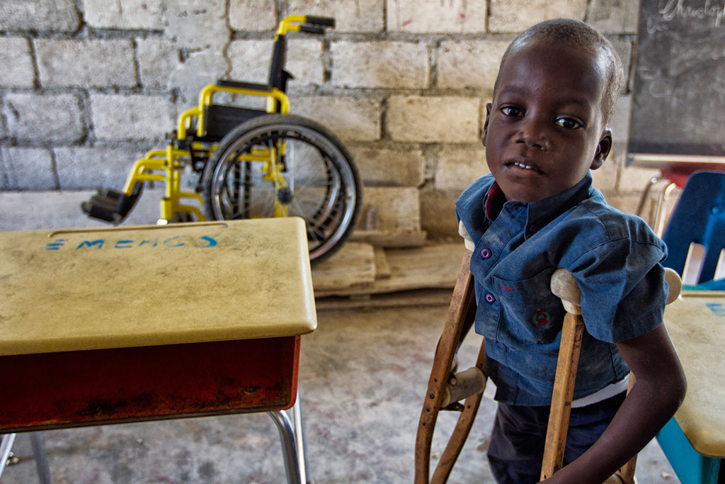 A young student at a school for disabled children in the poor neighborhood of Cité Soleil in Port-au-Prince, Haiti. UN Photo/Logan Abassi