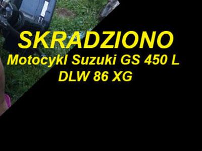 Skradziono motocykl Suzuki. Pomóż go odnaleźć