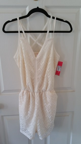 Xhiliration lace cream romper