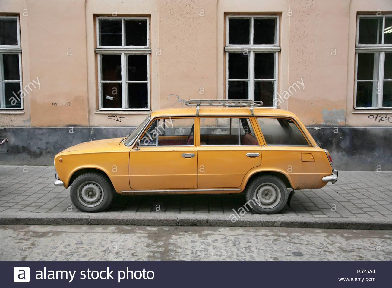 New Old D*Rty Orange Lada Estate Car In The Ukraine Stock On This Month