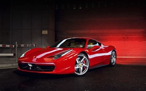 New Red Ferrari 458 In Garage Sport Car Wallpaper Download On This Month