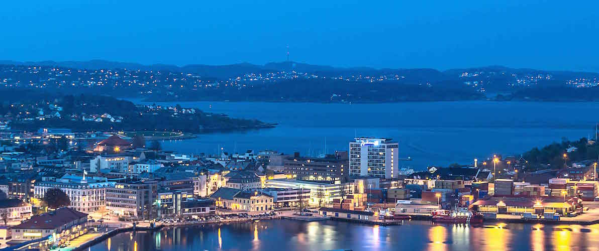 Kristiansand captured in the blue hour from Dueknipen