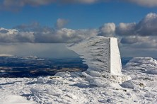 Extreme weather and the trig pillar: The exposed nature of this trig pillar at Ben Ledi lead to a fantastic capture of some rime ice by Calum Menzies. Formed when water droplets in freezing fog freeze to the outer surfaces of objects, usually to the windward side of solid objects.