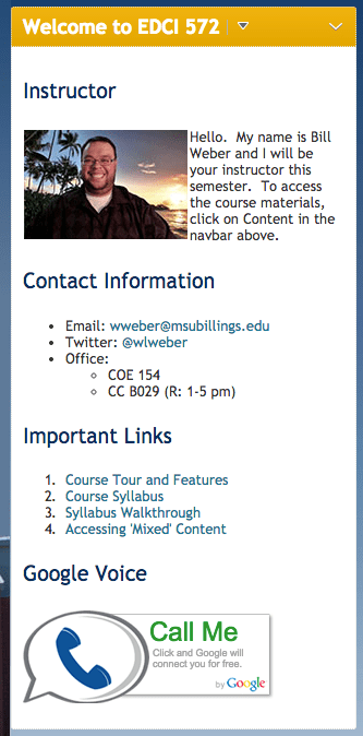 D2L Welcome Widget