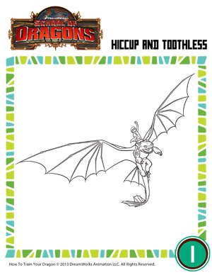 hiccup and toothless how to train your dragon coloring pages