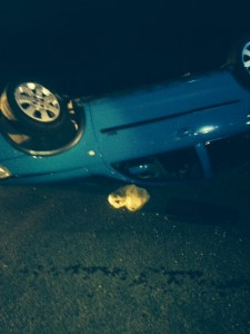 13.06.14 - THREE INJURED IN OVERTURNED CAR