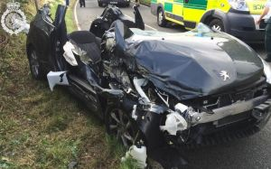 Car Badly damaged but driver gets away without serious injury 1 21-08-14