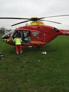 STAFF USE TRAIN, AMBULANCE & HELICOPTER TO TRANSPORT MAN 2