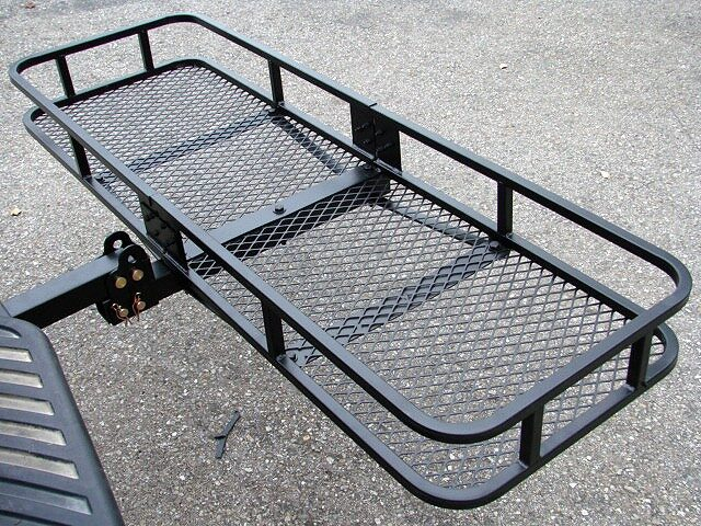 500 lb folding cargo carrier basket rack for 2 tow hitch receiver