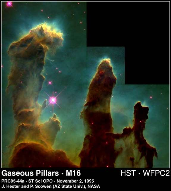 Pillars of Creation in a Star-Forming Region: Gas Pillars in the Eagle Nebula