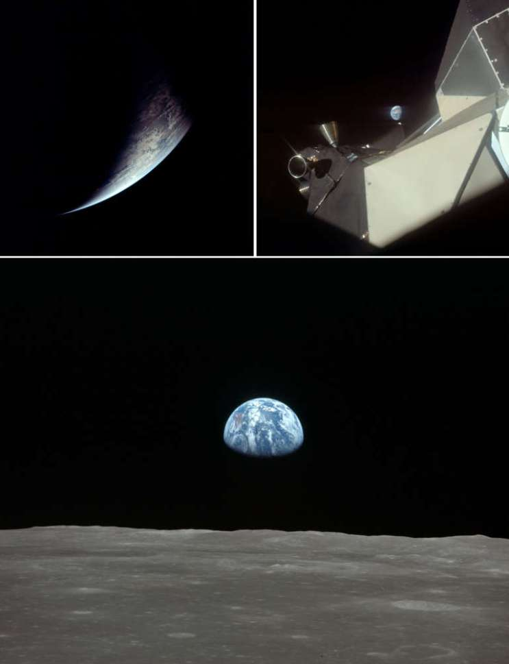 Several views of Earth from the Apollo 11 astronauts.