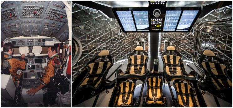 Left: Columbia Mission Commander John W. Young and pilot Robert L. Crippen during training on Columbia's flight deck in 1981. Right: The interior of the SpaceX Crew Dragon spacecraft. NASA/SpaceX