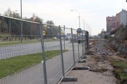 Budowa linii tramwajowej przy alei Sikorskiego (26 października 2014)