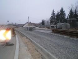 Budowa linii tramwajowej przy ulicy Płoskiego (30 listopada 2014)