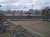 Budowa linii tramwajowej na skrzyżowaniu ulic Płoskiego, Witosa i Bukowskiego (17 kwietnia 2015)
