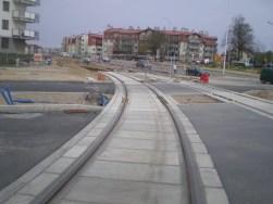 Budowa linii tramwajowej na skrzyżowaniu ulic Płoskiego, Witosa i Bukowskiego (28 kwietnia 2015)