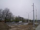 Budowa linii tramwajowej przy ulicy Towarowej (28 kwietnia 2015) - wjazd do zajezdni tramwajowej